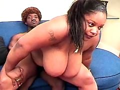 Appetizing ebony fatty takes a ride